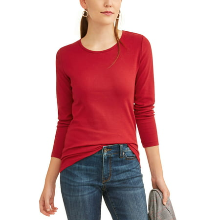 7057400f Time and Tru - Women's Long Sleeve Ribbed Crewneck T-Shirt - Walmart.com