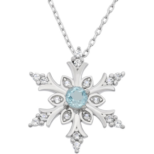Blue Topaz and Created White Sapphire Sterling Silver Snowflake Necklace, 18