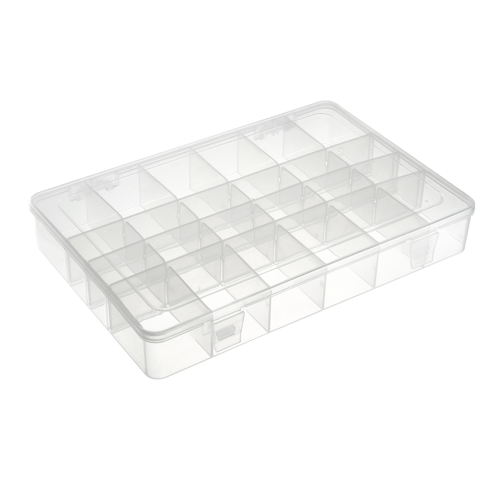 Component Storage Box - PP Adjustable 24 Grids Electronic Component Containers Tool Boxes Clear White 275x188x42mm - image 4 of 4