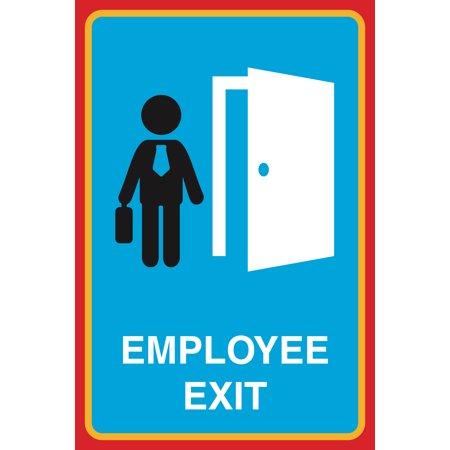 Employee Exit Print Working Man Open Door Picture Large 12 X 18 Business Office Sign Aluminum Metal