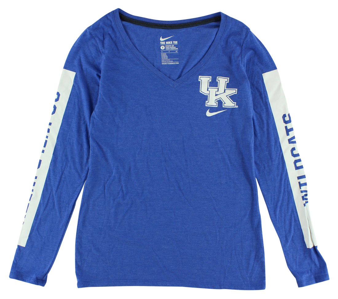 Nike Womens Kentucky Wildcats Long Sleeve Tri Blend Modern T Shirt Blue by