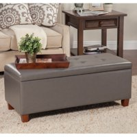 Kinfine USA Large Leatherette Storage Bench (Gray)