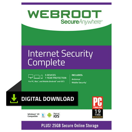 Webroot Internet Security Complete + Antivirus | 5 Devices | 1 Year | PC (Best Lightweight Internet Security)