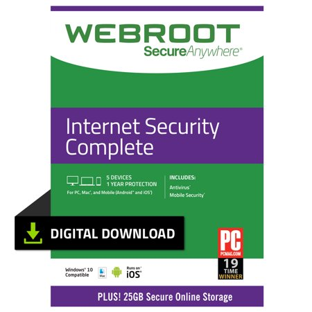 Webroot Internet Security Complete + Antivirus | 5 Devices | 1 Year | PC