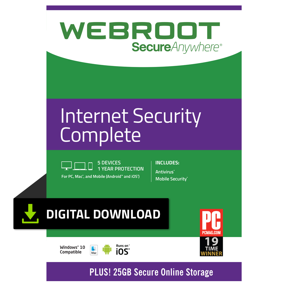 Webroot Internet Security Complete + Antivirus | 5 Devices | 1 Year | PC Download