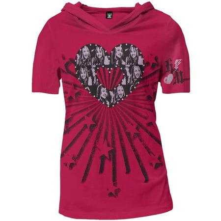 Hannah Montana - Heart Juniors Hooded V-Neck T-Shirt
