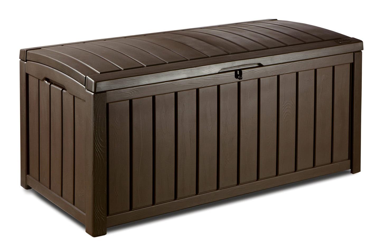 Keter Glenwood Outdoor Plastic Deck Storage Box 101 Gal Brown Walmart Com Walmart Com