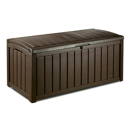 Keter Glenwood Outdoor Plastic Deck Storage Box 101 Gal,
