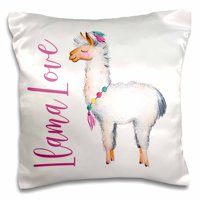3dRose Cute Watercolor Llama With The Words Llama Love - Pillow Case, 16 by 16-inch