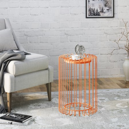 Noble House Sindu Indoor Industrial 22 Inch Finish Metal Side Table,Orange (Nobel Metals)