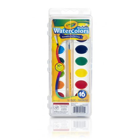 Crayola Semi-Moist Washable Watercolor Paint Set, 16 Count ()