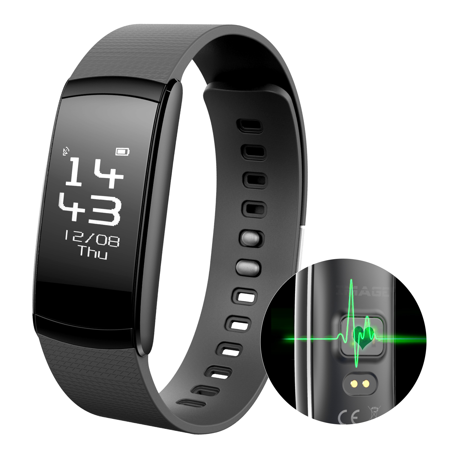 IMAGE Waterproof Smart Fitness Tracker Activity Watch Heart Rate Monitor Wrist Bracelet for iphone Android