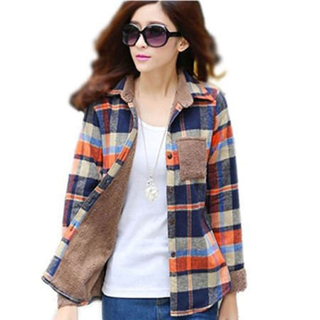 Womens Winter Heavyweight Plaid Wool Fleece Lined Flannel Shirt