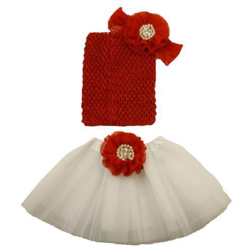 Girls Red White Pearl Flower Tutu Skirt Lace Headband Set 0-8Y