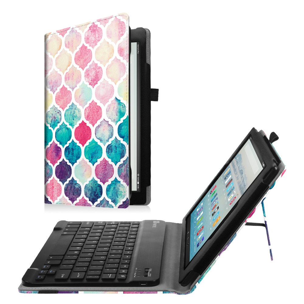 quality design 5b3a8 2bd18 Fintie Keyboard Case for Amazon Fire HD 10 (7th Gen, 2017 Release) - Folio  Standing Cover with Bluetooth Keyboard