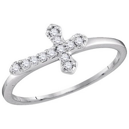 (Ladies White Gold Diamond Religious Sideways Cross Fashion Ring 0.12CT 10k)