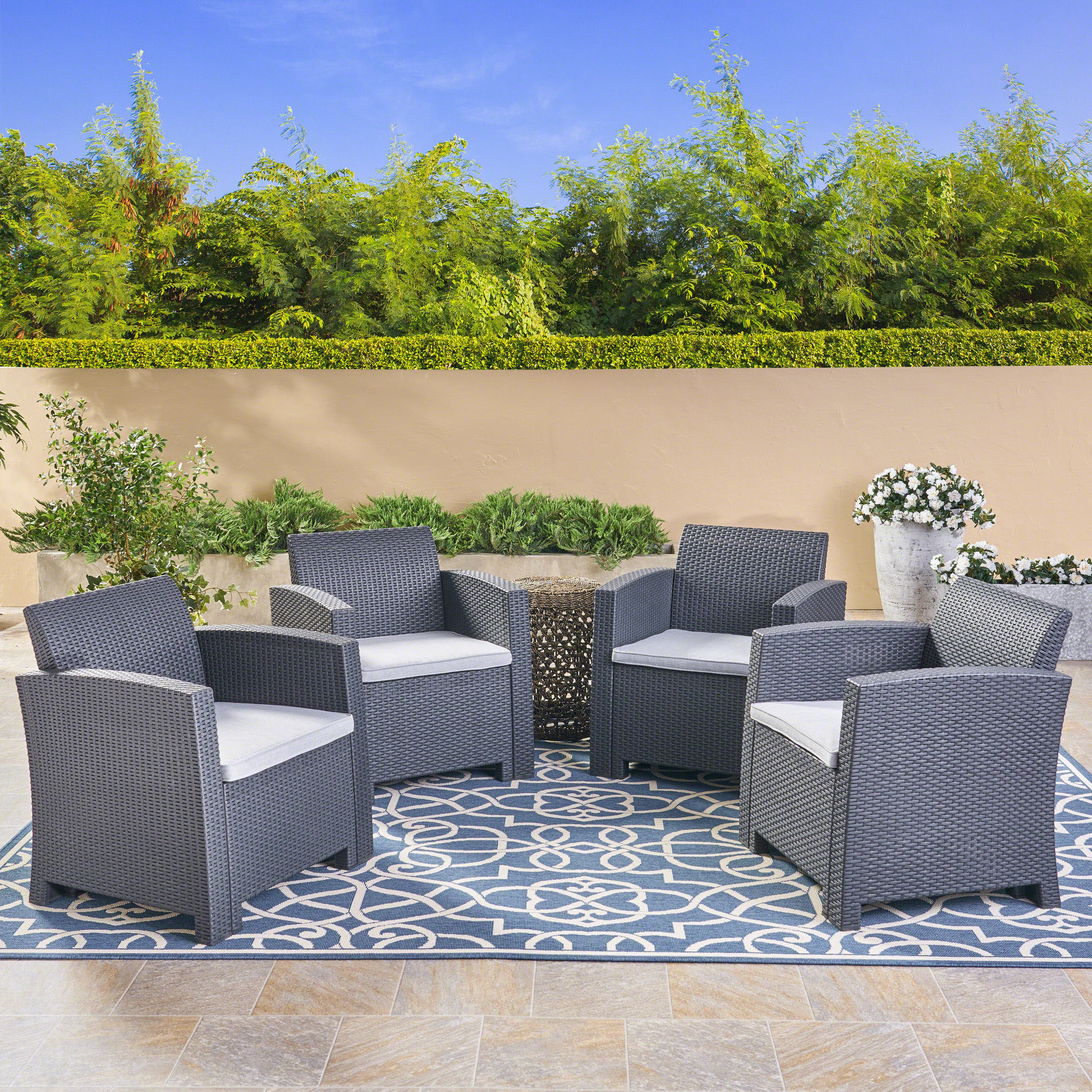 Noble House Sorianno Outdoor Charcoal Faux Wicker Club Chairs with Cushions,Grey