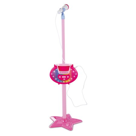 PeleusTech Portable Kids Karaoke Machine Toy Adjustable Star Base Stand Microphone Music Play Toys - Rosy ()