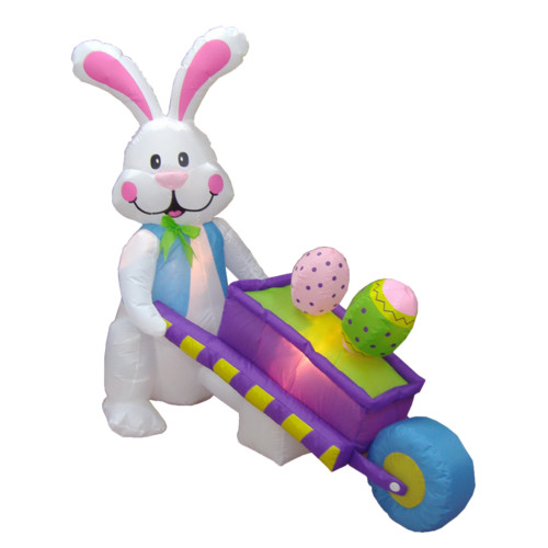BZB Goods 4' - 6' Long Easter Inflatable Rabbit Pushing Wheelbarrow with Eggs