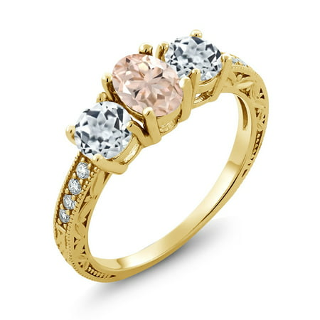 Peach Gemstone - Gem Stone King 1.77 Ct Oval Peach Morganite White Topaz 18K Yellow Gold Plated Silver Ring
