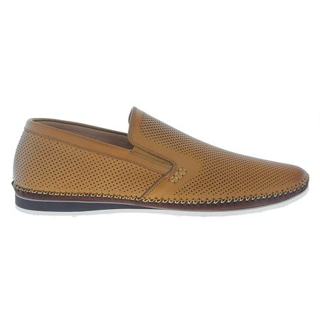 Mens 13 Cognac (Zanzara Mens Merz Perforated Leather Slip On Shoes (Cognac,)