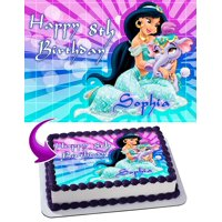 "Princess Jasmine Aladdin Edible Cake Image Topper Personalized Picture 1/4 Sheet (8""x10.5"")"