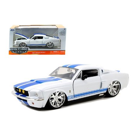 Ford Mustang Shelby Gt500 (1967 Ford Shelby Mustang GT-500 White with Blue Stripes 1/24 Diecast Car Model by Jada)