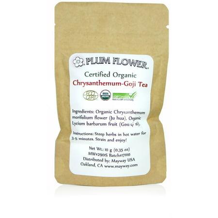 Plum Flower Certified  Organic Chrysanthemum & Goji Tea Single Serving Pack .35 oz