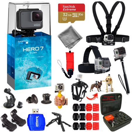 GoPro HERO7 HERO 7 Silver Action Camera Mega Pro ALL YOU NEED Accessory Bundle with 32GB Micro SD, Head and Chest Strap, Dog Harness, Medium Case + MUCH (Best Editing App For Gopro Videos)