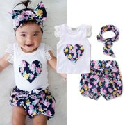 Toddler Kids Baby Girl Outfits Set Tops Vest+Shorts Pants Summer 3PCS Clothes