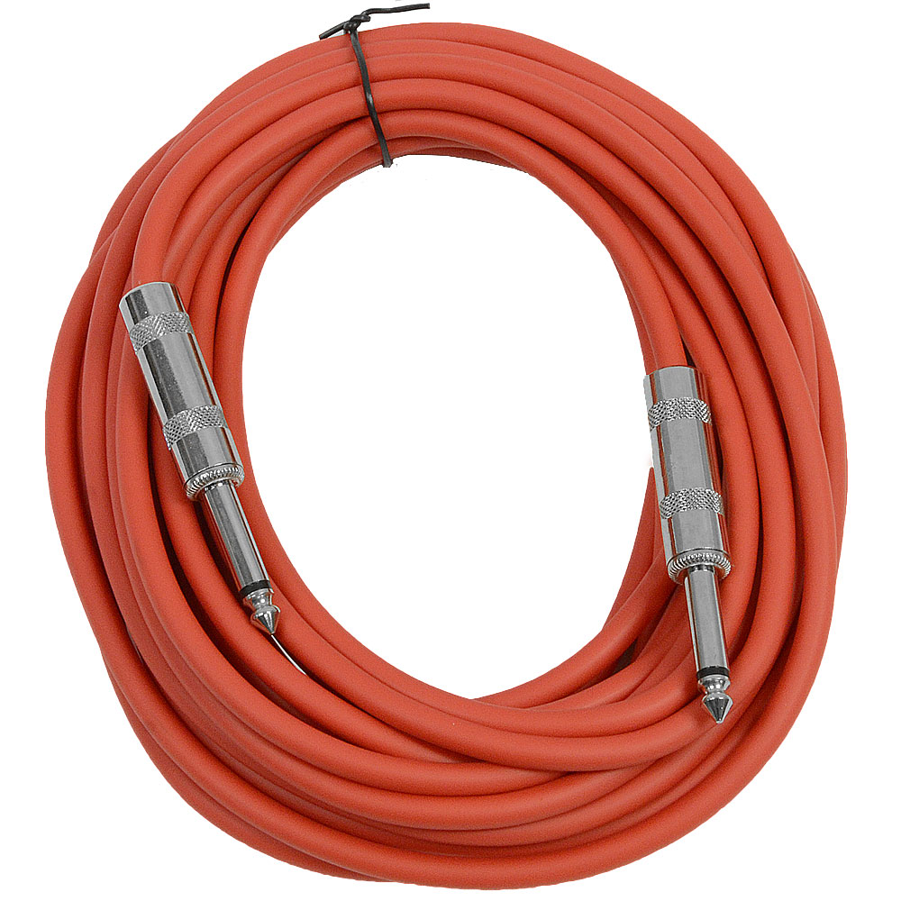 "Seismic Audio  - Red 1/4"" TS 25' Patch Cable - Effects - Guitar - Instrument Red - SASTSX-25Red"