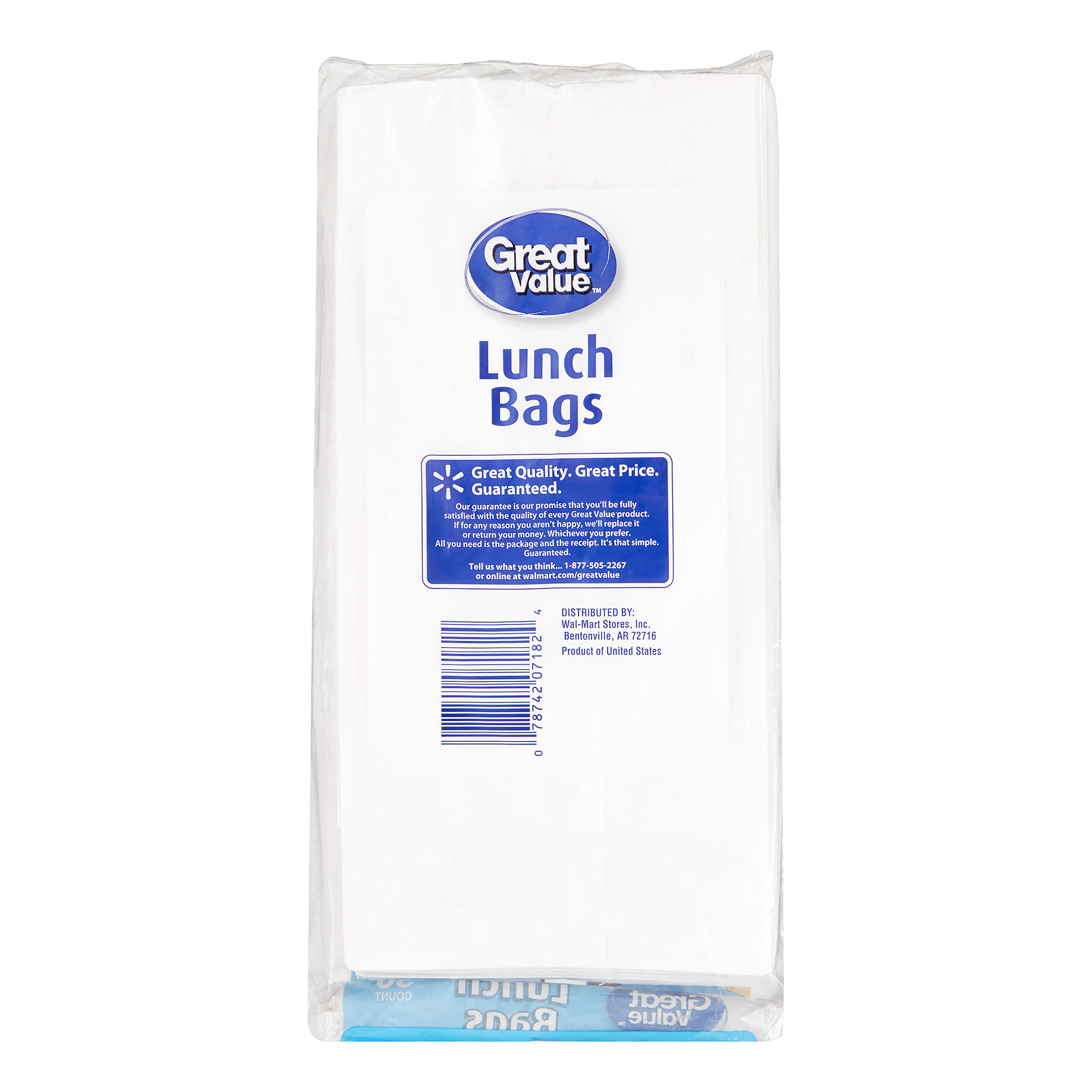 f7dac200b76a Great Value White Lunch Bags, 50 Count - Walmart.com