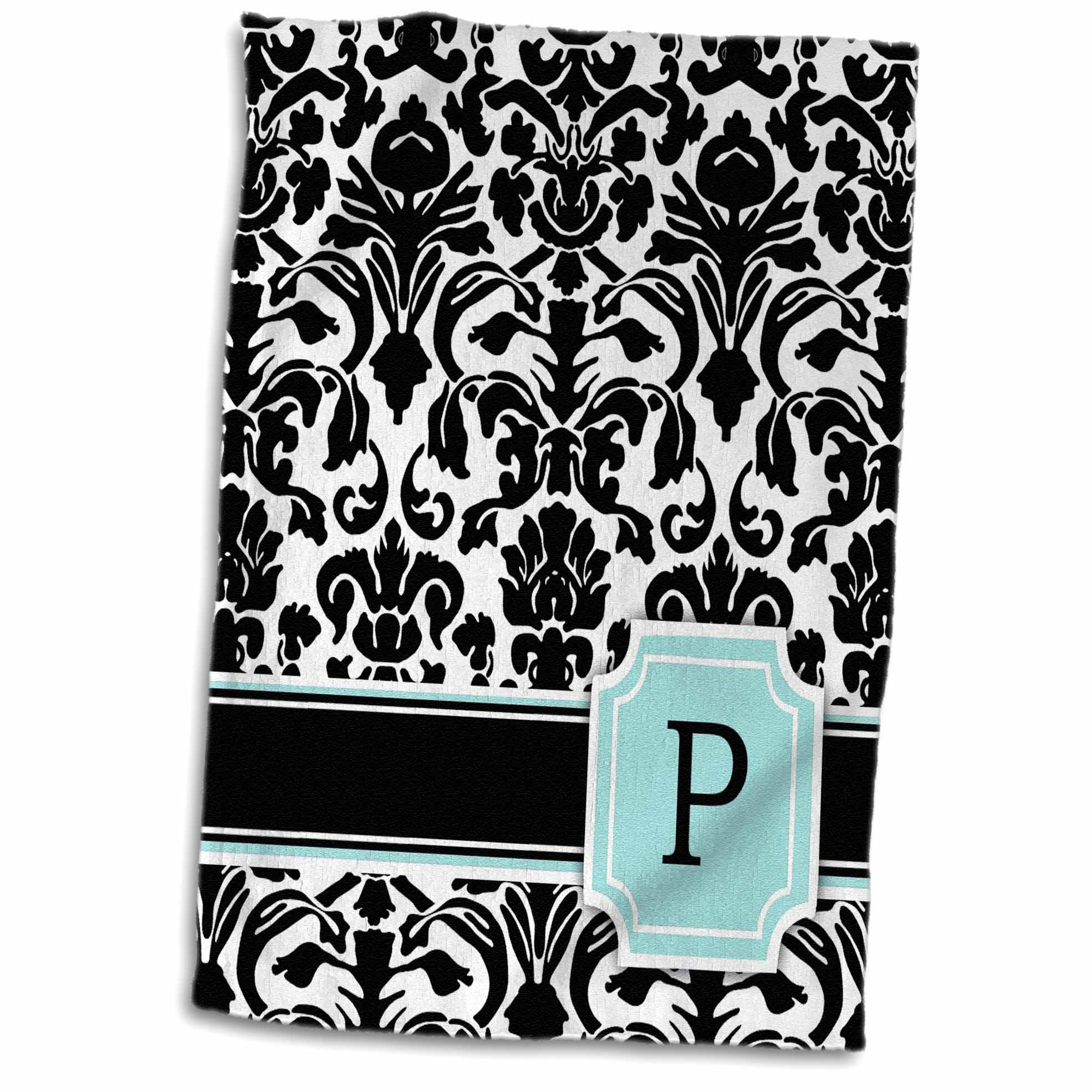 3dRose Letter P personal monogrammed mint blue black and white damask pattern - classy personalized initial - Towel, 15 by 22-inch