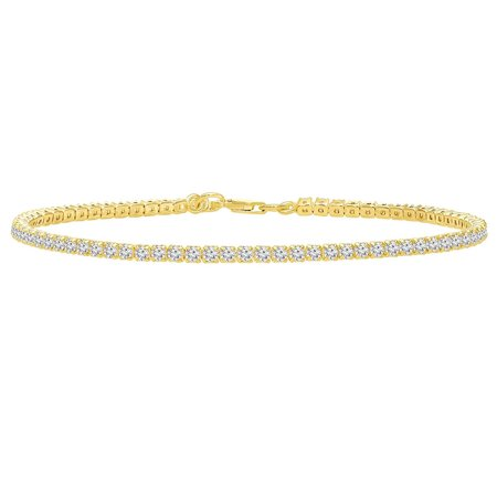 925 Sterling Silver Thin Tennis Bracelet With Cubic Zirconia Gold Tone