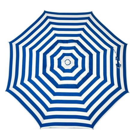 DestinationGear Italian 6' Umbrella Acrylic Stripes Blue and White Patio Pole