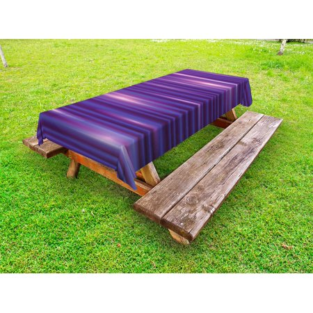 Indigo Outdoor Tablecloth, Stripe Like Horizontal Lines Modern Minimalist 70s 80s Inspired Design, Decorative Washable Fabric Picnic Tablecloth, 58 X 104 Inches, Magenta Purple and White, by Ambesonne](80s Tablecloth)