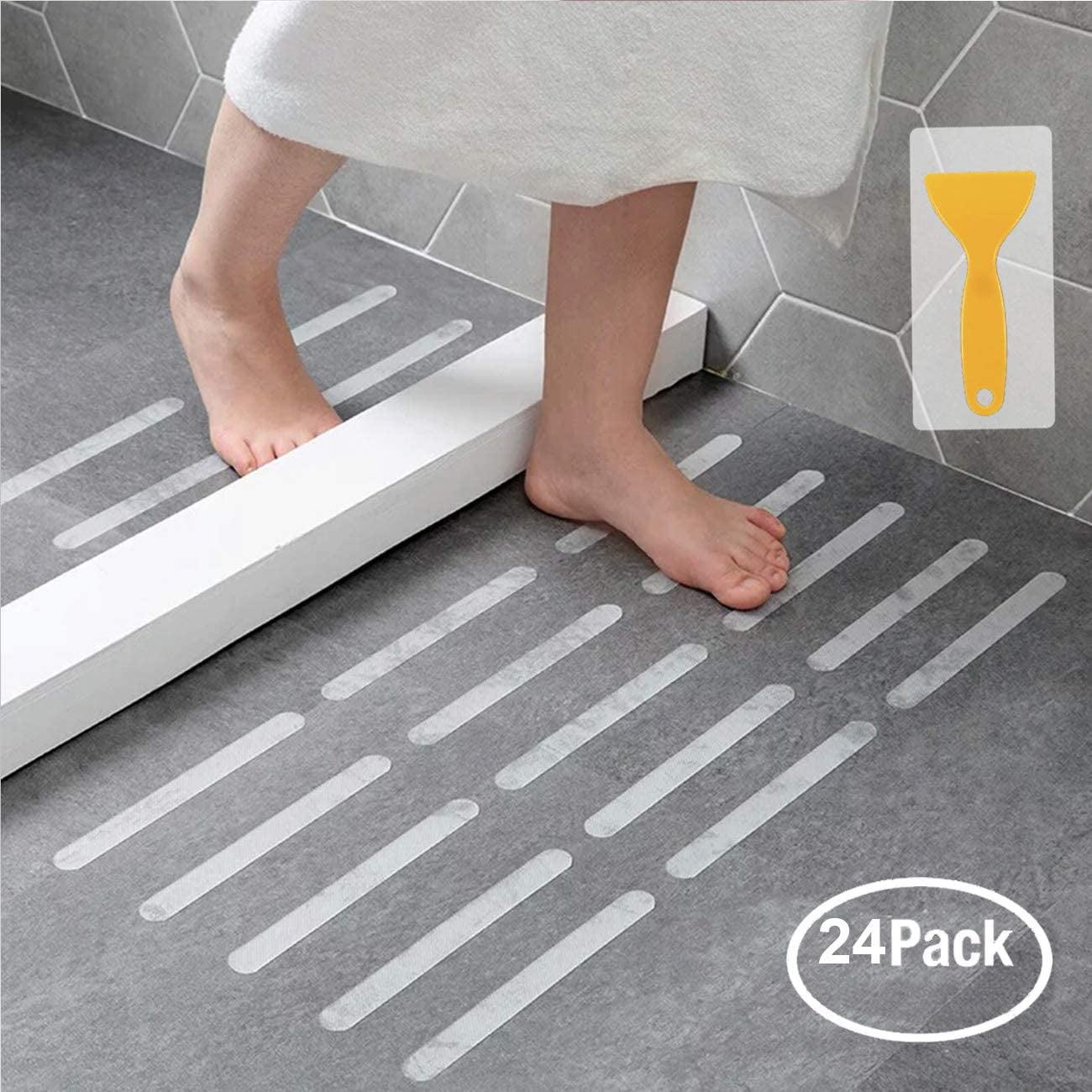 Non Slip Bathtub Stickers 28 PCS Adhesive Anti Slip Shower Stickers for Bath Tub,Bathroom,Stairs with Premium Scraper