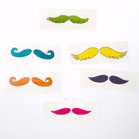 Glitter Mustache Tattoos - Finger Mustache Tattoo