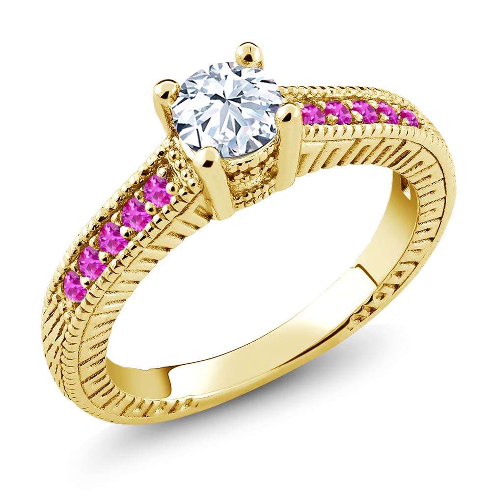 0.78 Ct Round White Topaz Pink Sapphire 18K Yellow Gold Engagement Ring by