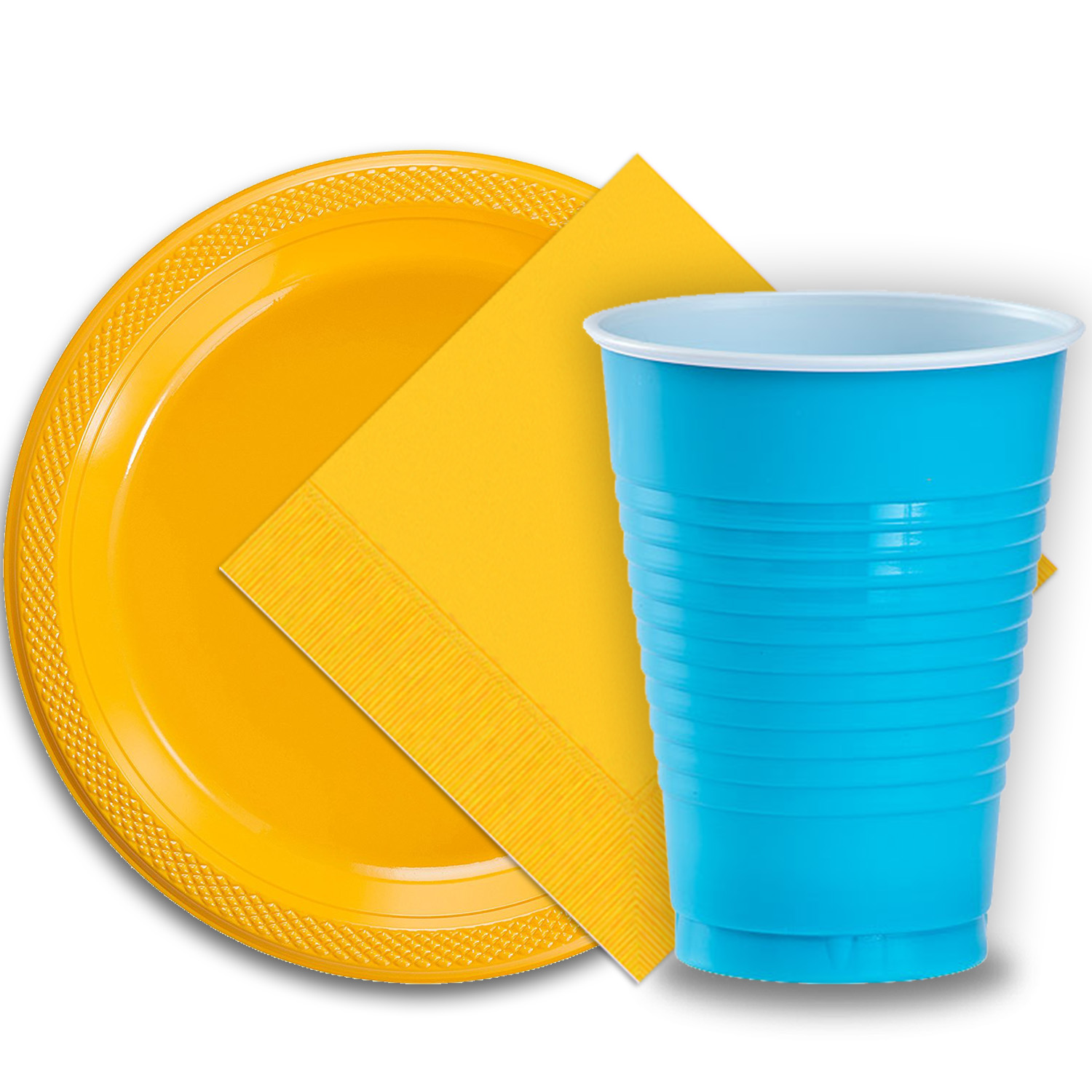"""50 Yellow Plastic Plates (9""""), 50 Aqua Plastic Cups (12 oz.), and 50 Yellow Paper Napkins, Dazzelling Colored Disposable Party Supplies Tableware Set for Fifty Guests."""