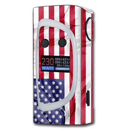 Skin Decal For Sigelei Kaos Spectrum 230W Vape   American Flag Pot Leaf Stars Marijuana