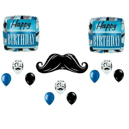 Mustache Balloons Man Boy Happy Birthday Party Decoration Supplies (Ironman Birthday Party Decoration)