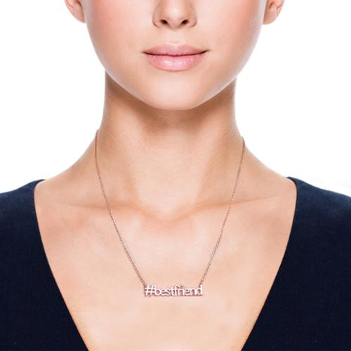 Eternally Haute  14k Rose Goldplated 'Hashtag Best Friend' Necklace