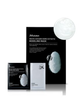 JMsolution White Cocoon Home Aesthetic Modeling Mask, Step1 : 50g /Step2 : 5g, 5count