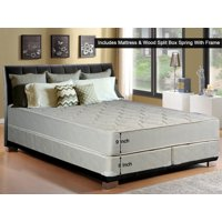 """WAYTON, 9-Inch Gentle Firm Tight top Innerspring Mattress And Split Wood Traditional Box Spring/Foundation Set With Frame, King Size78"""""""