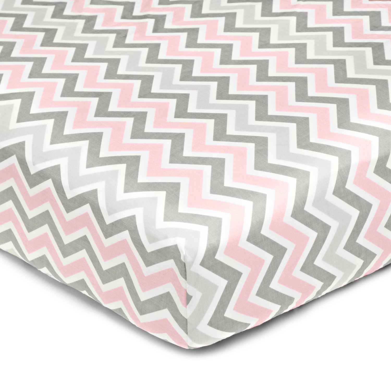 American Baby Company 1% Cotton Percale Crib Sheet - Gray Pink Zigzag