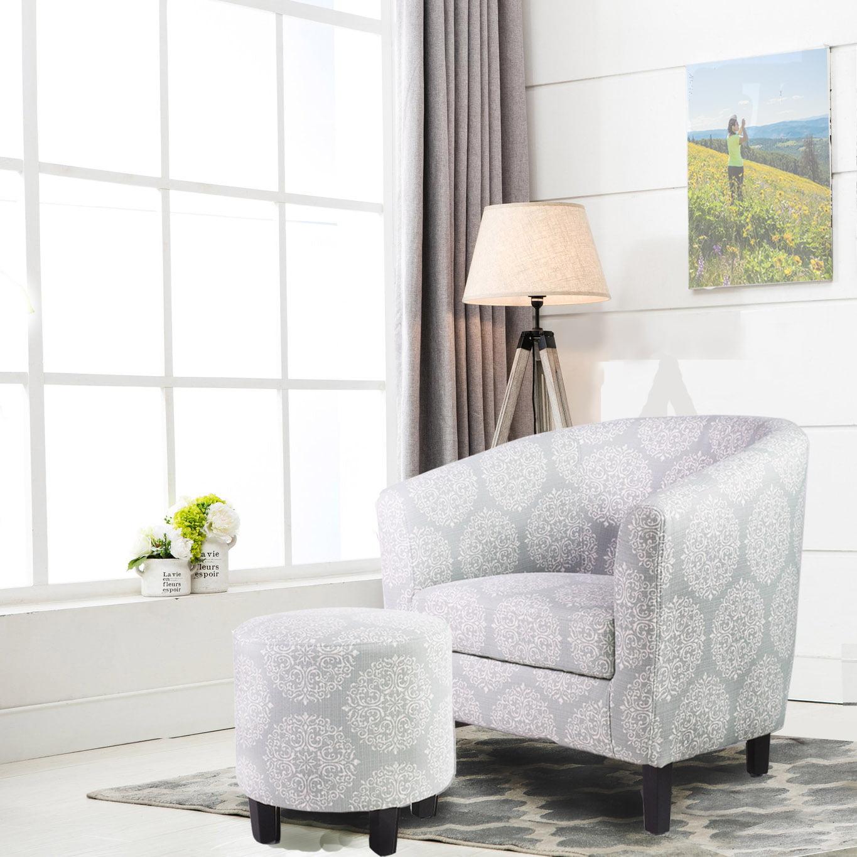 Ocean Bridge Furniture Lavelle 7AM Barrel Chair and Ottoman Set, Dark Grey