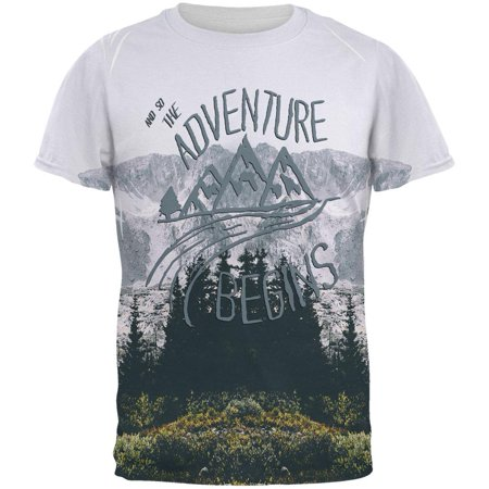 Adventure Skirt - Hiking Mountains So The Adventure Begins All Over Mens T Shirt