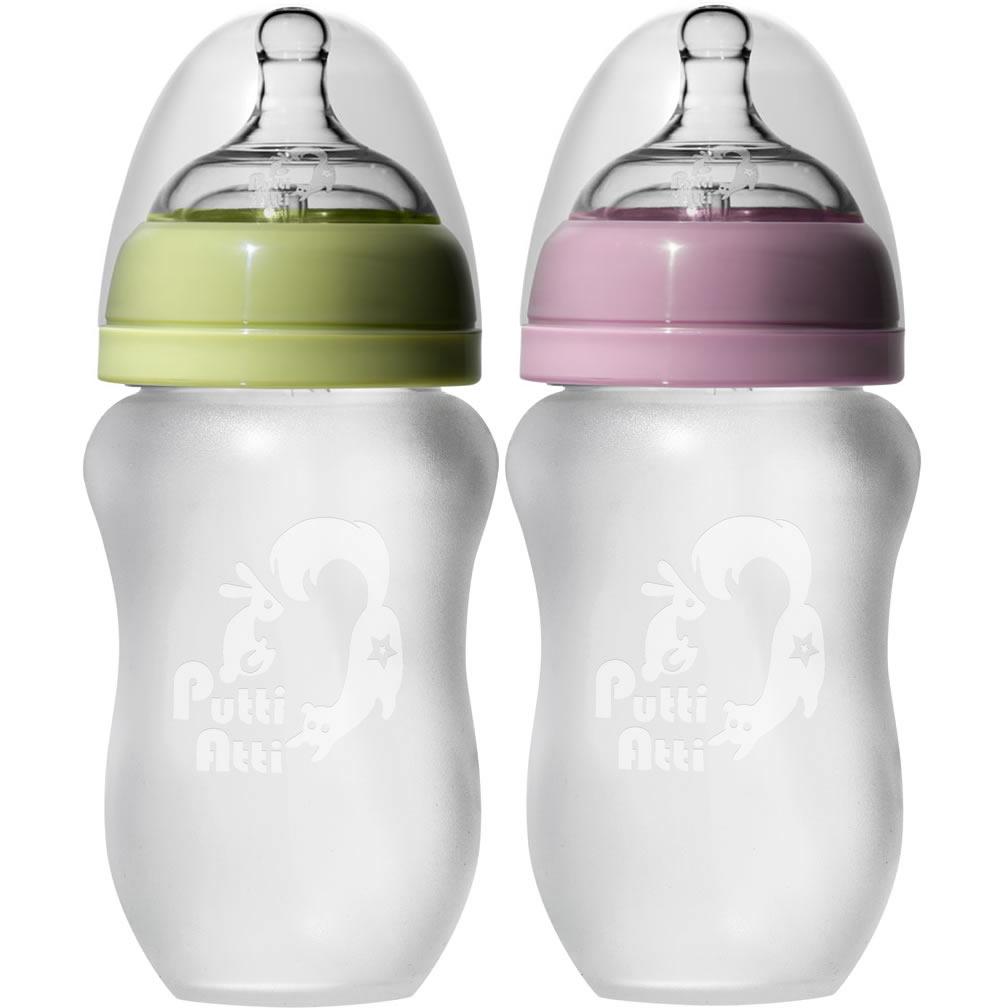 PuttiAtti Silicone Baby Bottles 8oz, Green/Pink