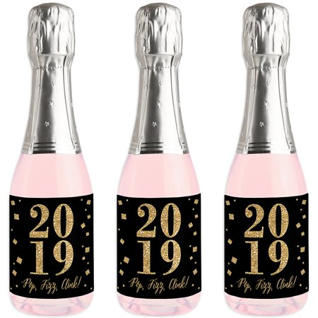 Party Favors For Women (New Year's Eve - Gold - Mini Wine and Champagne Bottle Label Stickers - 2019 New Years Eve Party Favor Gift - Set of)